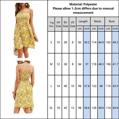Spaghetti Strap Ladies Summer Dress Floral Printed Yellow Women Mini Sundress Dress Sleeveless Slash Neck Female Dress D30