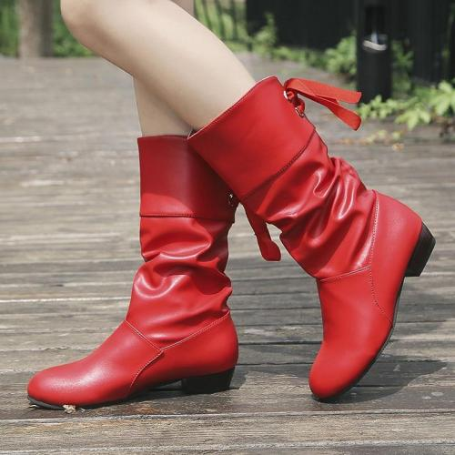 Plus Size 35-43 Women Knee-High Boots Back Lace Up Low Heels Winter Shoes Black Boot White Botas Mujer Female Snow Boot Red 7833