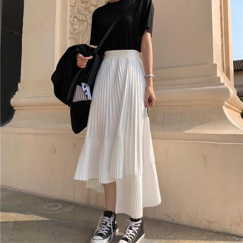 Chiffon Pleated Skirt Women Plus Size Ruffles Long Skirts Autumn High Elastic Waist Korean Vintage Harajuku Midi Skirts V811