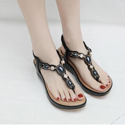 Sandals female shoes 2020 new rhinestone buckle wedge summer shoes woman solid color comfortable sandals women shoes plus size