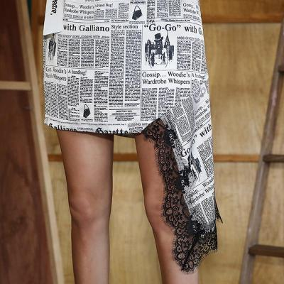 Korean Irregular Lace Skirts Women Newspaper Graffiti Print Skirt Summer Vintage Mini Skirt Sexy Pencil Skirt High Elastic Waist