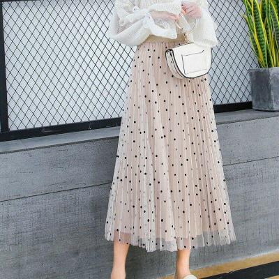 Women 2020 Summer Autumn Beach Polka Dot Mesh Patchwork Floral Skirts Ladies Holiday High Waist Ruffles Skirt