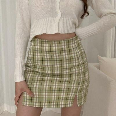 Plaid Print Summer Skirts Women High Waist Pencil Mini Skirts Korean Split Sexy Vintage Short Skirt Sheath Zipper Harajuku W659
