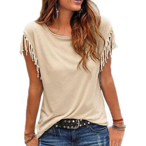 Summer Tassel Casual T Shirt Female Vest Women O-neck Top Female T Shirt Short Sleeve T-shirt Woman T-shirt Top Tees