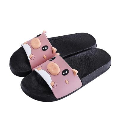 Summer Women Cute Cat Slippers Cartoon Pig Slides Ladies Outside Flat Platform Casual Soft Woman Comfortable Shoes 2020 New