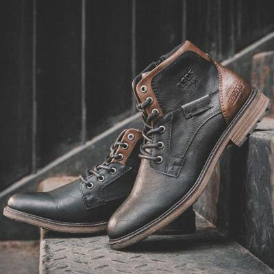 UPUPER New Leather Men Boots Vintage Ankle High Top Casual Desert Boots Men Shoes Luxury Brand High Quality Leather Winter Shoes