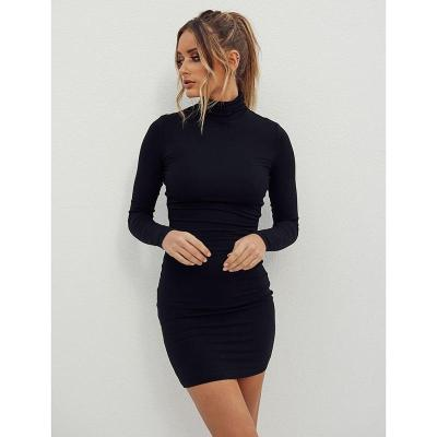 New stand collar long sleeve solid color sexy slim hip dress foundation dress