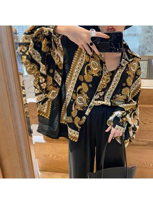 2020 Fashion New Autumn And Winter Women Clothes Turn-down Collar Lantern Sleeves Single Breasted Bat Styles Printed Shirt