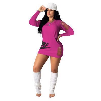 Felyn 2020 New Arrival Sexy Dress  Solid  O-neck Long Sleeve  Hole Summer Mini Dress