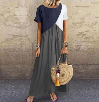 2020 Women Dresses Long maxi dresses for women vestidos casual dress Beach Patchwork Color Loose Casual Plus Size Dress