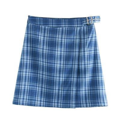 Foridol plaid vintage belt skirt women chic streetwear check mini skirt high waist checkered  a line skirt 2020 new blue skirt