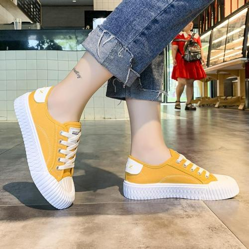 Women sneakers new arrivals fashion lace-up black white yellow women shoes solid shallow casual canvas shoes women U12-22