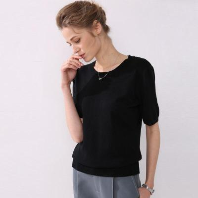 knitting shirt women summer short sleeves o-neck classic short tops warm fashionable casual pullover top tees