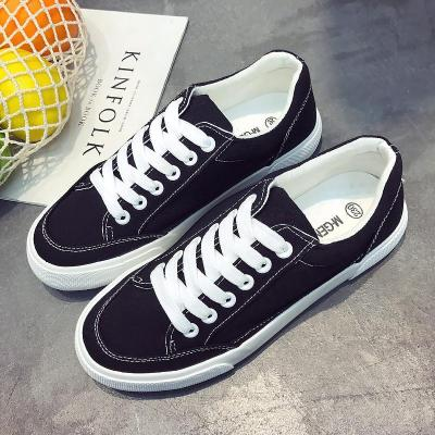 Women sneakers 2020 new arrivals fashion lace-up black/white women shoes solid sewing shallow casual canvas shoes women