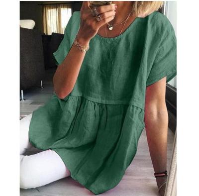 Casual Solid Cotton Linen Mini Dress Summer Women Short Sleeve A-Line Shirt Dress Retro Elegant Female Party Dress Vestidos 4XL