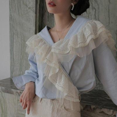 Korean Spring Vintage V-neck Asymmetric Lace Crocheted Ruffles Stitching Loose Long-Sleeved Shirts Women Fashion Streetwear 2020