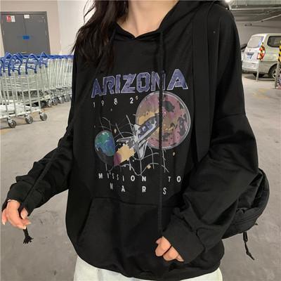 Autumn and Winter Cotton Nostalgia Old Planet Printed Harajuku Spaceship Arizona Space Print Black Hooded Sweatshirt Hoodie