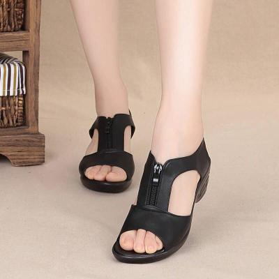 Summer New Women Sandals High Heel Wedges Leather Shoes Woman Solid Casual Zip Platform Sandals - 41 Ladies Shoes Plus Size 35