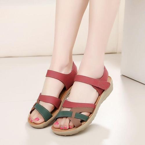Mother women sandals 2020 women shoes middle-aged open toes wedges mixed colors casual female shoes soft breathable sandalias