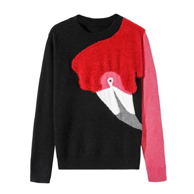 Autumn Korean High Quality Flamingo Flocking Patchwork Long Sleeve Pullovers Knitted Sweaters Women New Fashion Streetwear 2020