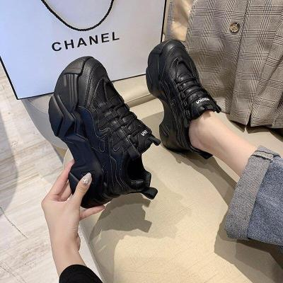 Fashion Sneakers For Women 2020 Autumn Chunky Casual Shoes Black Leather Vulcanized Shoes Woman Brand Platform Trainers 7cm