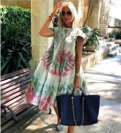 Women Vintage Floral Print Loose A-Line Dress 2020 Summer O-neck Petal Short Sleeve Dress Elegant Casual Party Dress 2XL Vestido