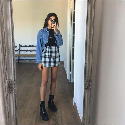 Foridol Black Plaid Mini Skirt High Waist Vintage Checkboard Zipper Skirts Womens 2020 Streetwear Skirt Faldas Mujer