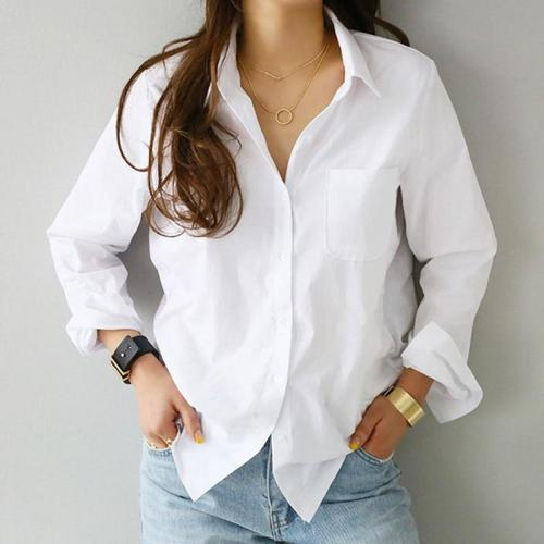 2020 Spring One Pocket Women White Shirt Female Blouse Tops Long Sleeve Casual Turn-down Collar OL Style Women Loose Blouses