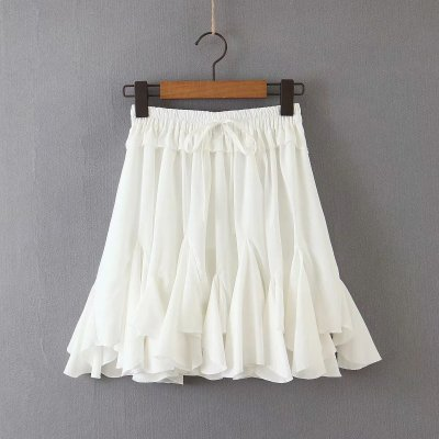 Foridol white sash ruffle skirts womens high waist chic A-line skirt 2020 summer autumn mini skirt bottoms ladies short skirt