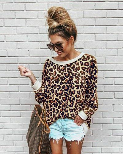 Korean Fashion Long Sleeve Loose Leopard Tops Lady Soft Warm Streetwear Sweater Casual Women Blouse Pullover Winter Clothes hot