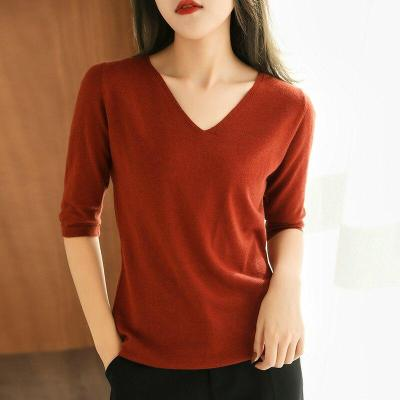 women  shirt short sleeves wool pullover short jacket V-neck soft spring autumn tops fashion knitwear