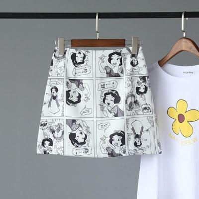 Snow White Cartoon Print Mini Skirts Summer High Waist Pencil Skirt Beach Warp Skirts Design A-Line Korean Vintage Slim Fit Sexy