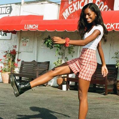 Women checked mini skirt with two small front slits plaid cut cara skirt summer beach vintage skirt retro spring short skirt