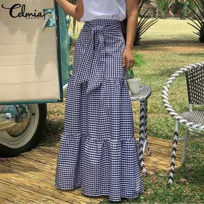 Celmia Fashion Skirts 2020 Women Vintage Plaid Check Long Skirts High Waist Casual Loose Belted Pleated Maxi Skirts Plus Size