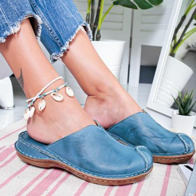 2020 New Women Round Toe Low Heel Slide Sandals Summer Slippers Cane Woven Beach Shoes Woman Mule Flat Sandals Sandalia Feminina