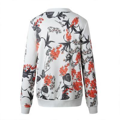 Jacket Women 2020 Autumn Long Sleeve Vintage Floral Coat Women Casual O Neck Zipper Bomber Jackets Ladies Outwear Veste Femme