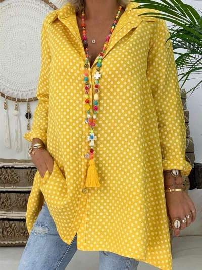 Plus Size Women V Neck Polka Dot Shirt Tops Long Sleeve Loose Blouse Ladies Tops