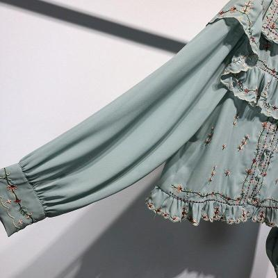Spring New Summer Chiffon Ruffles Floral Machine Embroidery Long-sleeved Chiffon Shirts Blouses Women Fashion Streetwear 2020