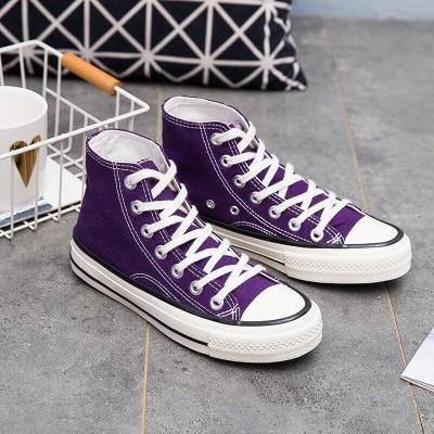spring Solid Color purple Women's Casual Shoes Vulcanized Sneakers women High Top Canvas Flats Shoe Lace Up Footwear