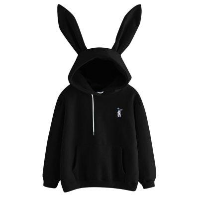 Womens Rabbit Ear Girl Long Sleeve Hoodies Sweatshirt Autumn Winter Cotton Hooded Coat Lovely Female Bunny Hoodies #F5
