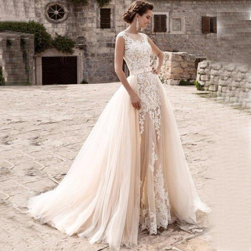 Eightree Mermaid Wedding Dresses Sheer Skirt Removable Vestidos De Novia 2020 Robe De Mariee Detachable Train Bridal Dress