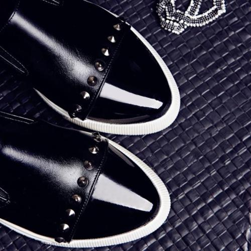Women's Footwear Spring/Autumn Plus Size 43 Rivet Loafers Woman PU Working Shoes For Girl Pointed Toe Flat Sneakers Female