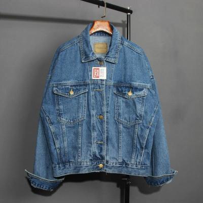 Vintage Women Jacket 2020 Autumn Winter Oversize Denim Jackets Washed Blue Jeans Coat Turn-down Collar Outwear Bomber Jacket