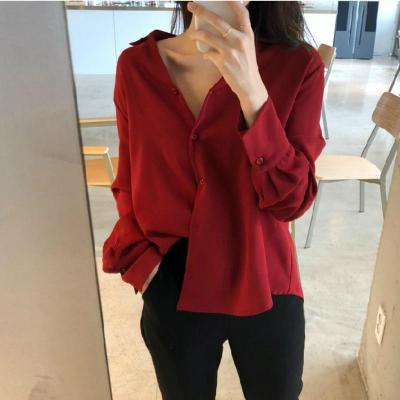 womens tops and blouses solid white chiffon blouse office shirt blusas mujer de moda 2020 long sleeve women shirts clothes A405