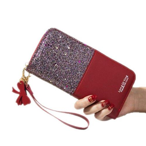 2020 Fashion Women PU Leather Wallet Female Sequins Tassel Purse Handbag Ladies Zipper Patchwork Long Wallets