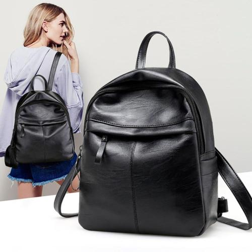 PU Leather Anti Theft Backpack Bags For Women Large Capacity School Bags For Teenage Girls Solid Black Ladies Travel Backpack