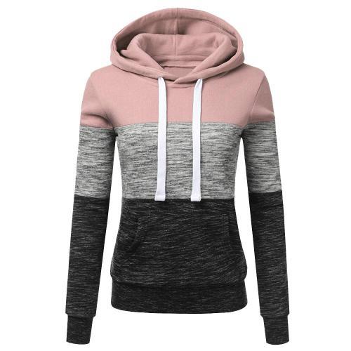 Patchwork Hoodies Sweatshirts Women Casual Pullover Tops  Jumper Hooded Sweatshirt Female Hoodie Sudadera Plus Size S-5XL