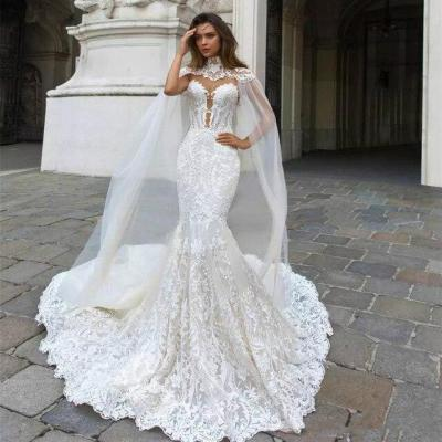 Eightree Customized Lace Mermaid Wedding Dresses Cathedral Train Sleeveless Illusion Sexy Backless Dresses Appliques Bride Dress