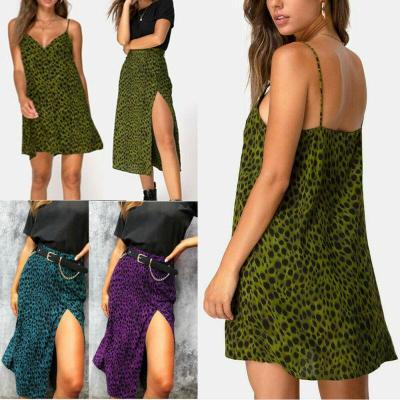 Women Summer High Waist Split Leopard Printed Maxi Skirts Pleated Beachwear Bodycon Long Casual Skirt