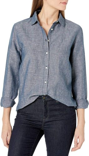 Essentials Women's Classic-Fit Long-Sleeve Linen Shirt